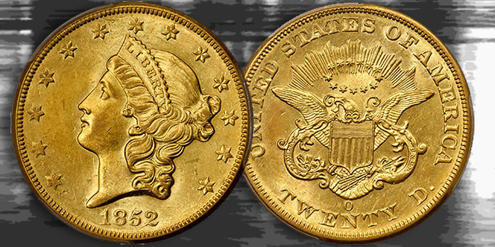 Stack's Bowers Nov. Showcase Auction Features Rare Mint State 1852-O Double Eagle