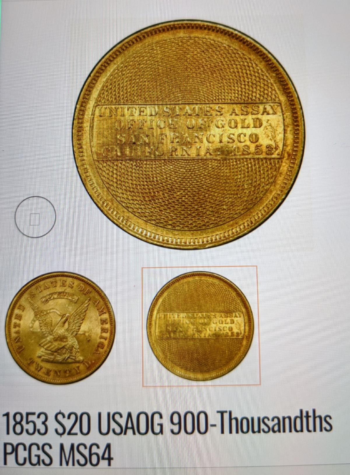 1853 $20 USAOG 900-Thousandths PCGS MS64. Image courtesy Numismatic Crime Information Center, Doug Davis