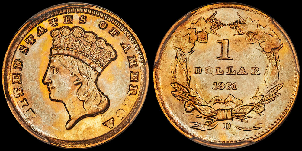 1861-D $1.00 PCGS MS64+.  US Gold Coin Images courtesy Heritage Auctions