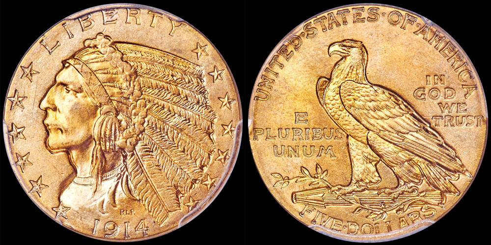 1914 $5.00 PCGS MS66 CAC. US Gold Coin Images courtesy Heritage Auctions