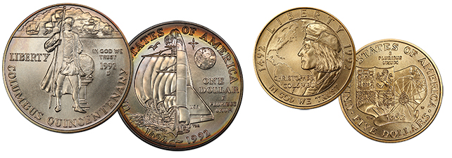 1992 Columbus dollar and $5 coins. Image: PCGS.