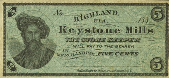 5 Cents, Keystone Mills, Highland, Florida, 1880s (?) Imaged by Heritage Auctions