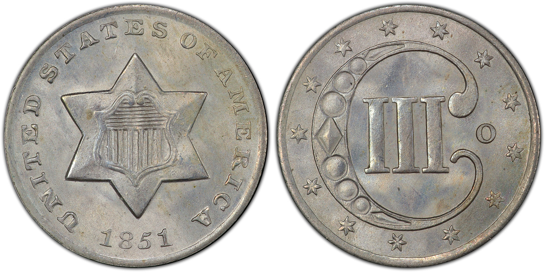 The one-year-only issue of 1851-O Three Cent Silver. Courtesy of PCGS TrueView