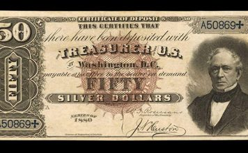 """Finest Graded """"Black Back"""" 1880 $50 Silver Certificate at Stack's Bowers Auction"""