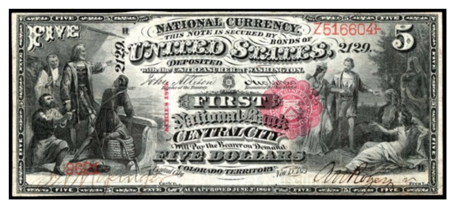 $5, National Bank note, Original Series and Series 1875, front American Numismatic Association (ANA) Money Museum