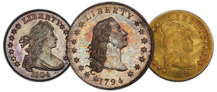 Morelan Collection: 1804 dollar, 1794 dollar, and 1795 $10 13 Leaves