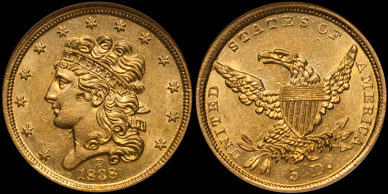 1838-D $5.00 NGC MS62 CAC. Images courtesy Doug Winter