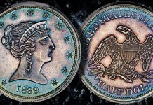 """""""Backward Liberty"""" half dollar among the pattern coins offered at Heritage's upcoming US coin auction"""