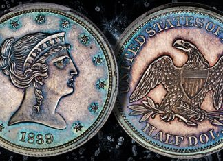 """Backward Liberty"" half dollar among the pattern coins offered at Heritage's upcoming US coin auction"