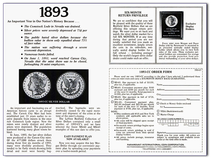 1893-CC Ad (1978), Paramount International Coin Corporation