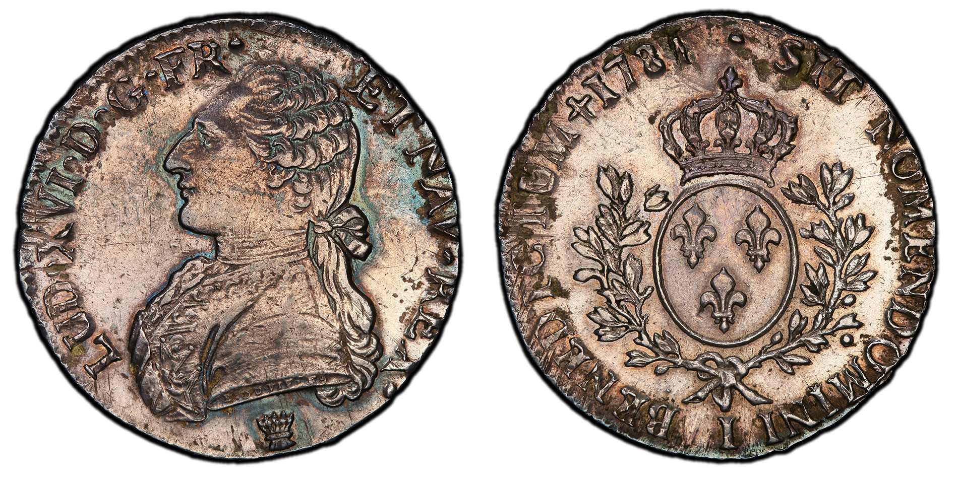 """France """"1781"""" Ecu with Altered Date. Images courtesy PCGS"""
