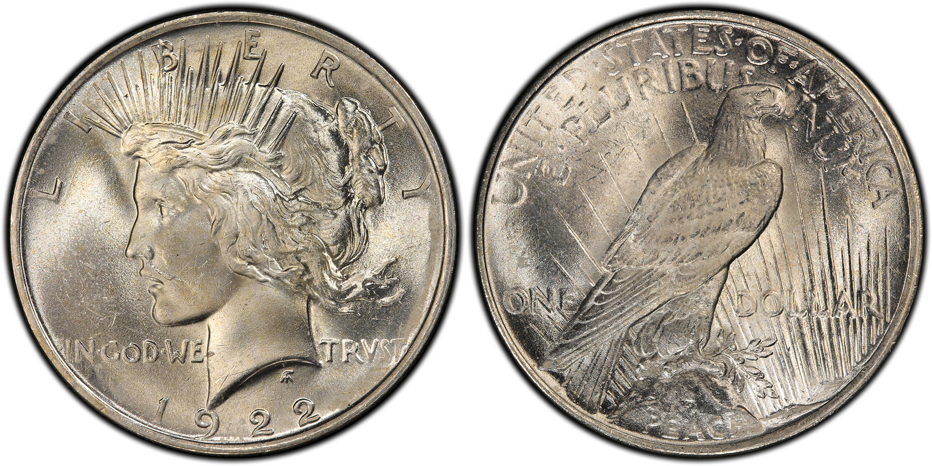 Peace Dollar, 1922 $1 VAM 12A Moustache, PCGS MS64. Image courtesy PCGS