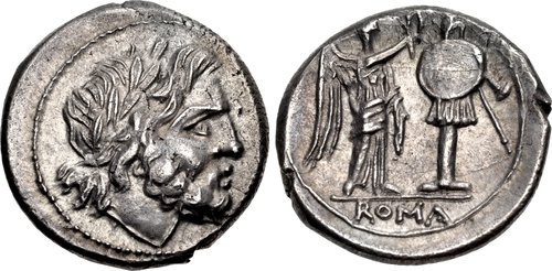 Rome: Republic. 211-208 BCE. AR Victoriatus. Obverse: Laureate head of Jupiter facing right. Reverse: Victory standing right and crowning a trophy