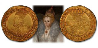 Incredible Semi-Dated Elizabethan Gold Pound at Stack's Bowers NYINC 2021 Auction