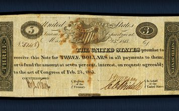 fully signed, issued, and uncancelled Act of February 24, 1815, $3 note featured in the Heritage sale of the Mike Coltrane Collection