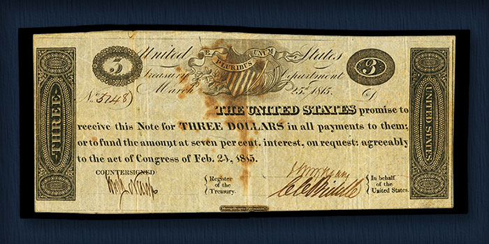 Unique War of 1812 $3 Note Leads Results in Heritage Auction of Mike Coltrane Collection