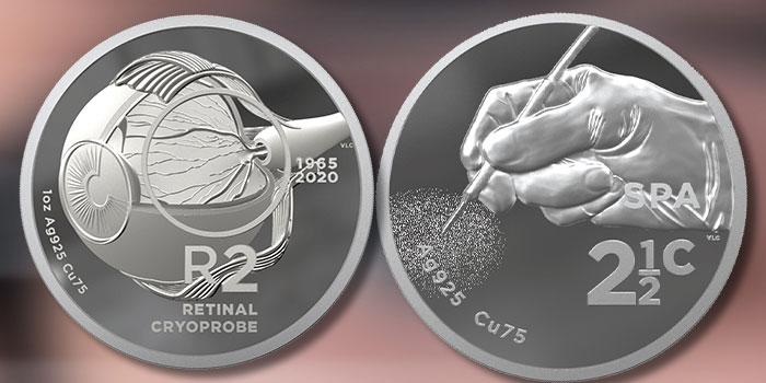 South African Mint Continues Inventions Series With 2020 Retinal Cryoprobe Coins