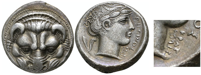 Bruttium, Tetradrachm, Rhegion, signed by the engraver Kratesippos on the reverse,