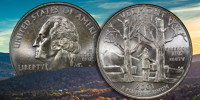 The 2001 Vermont Quarter: Maples & Mountains