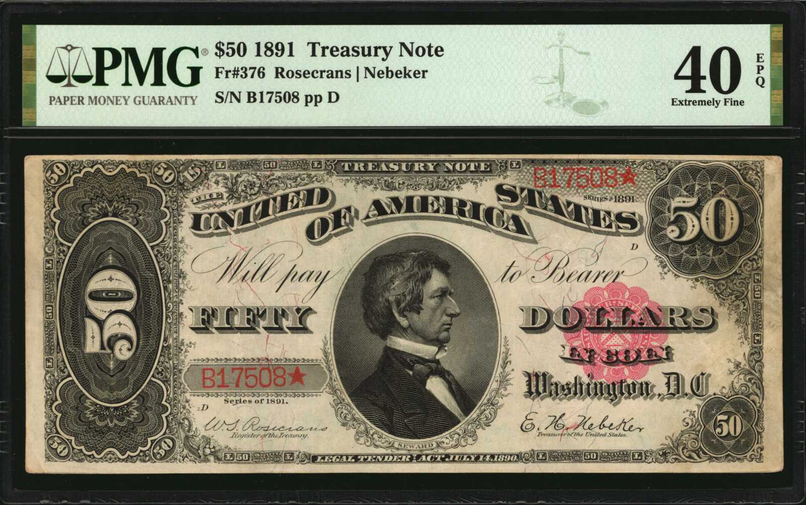Fr. 376 1891 $50 Treasury Note to be Presented in the Stack's Bowers Galleries March 2021 Auction