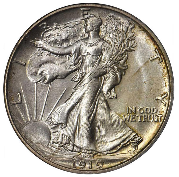 CAC Certified Coins: 1919-S Walking Liberty Half Dollar in MS-66