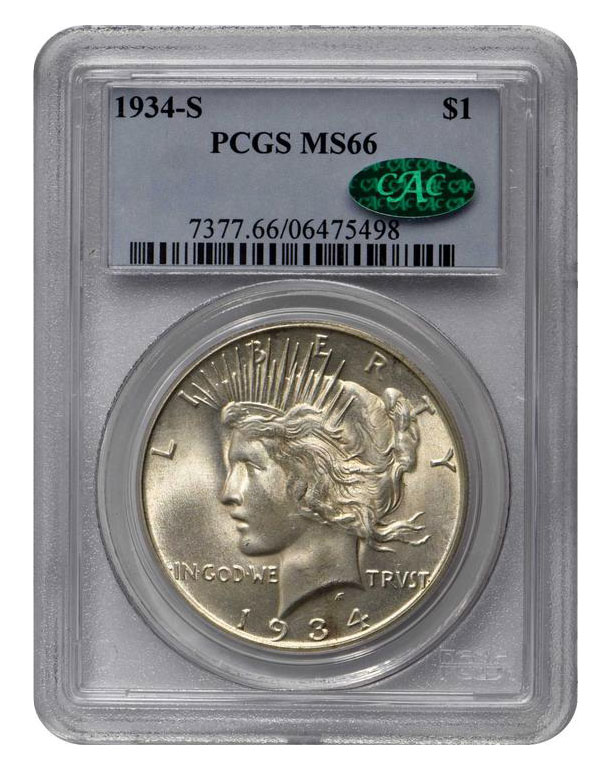 CAC Certified Coins: 1934-S Peace Dollar in MS-66