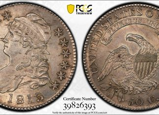 1815 /2 50c PCGS MS63. Images courtesy PCGS