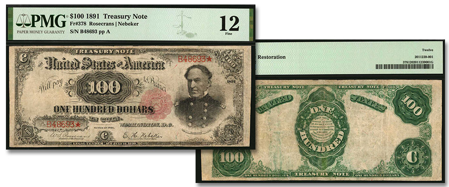 """Rare """"Open Back"""" 1891 $100 Treasury Note in Stack's Bowers Galleries March 2021 Auction"""