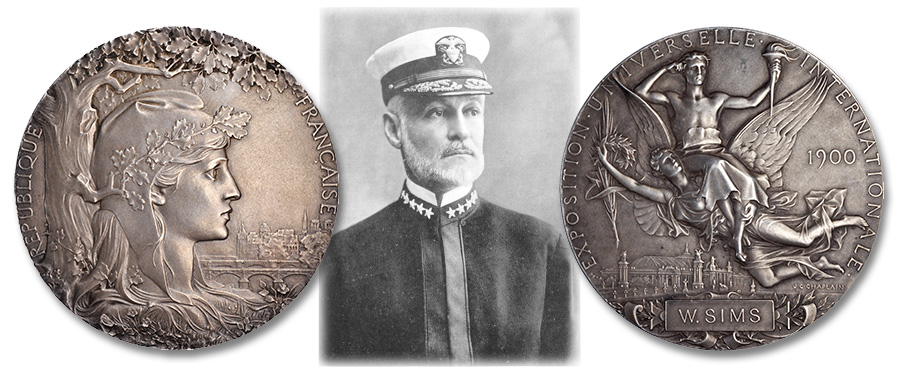 Rear Admiral William Sims & the 1900 Paris Expo Medal. Images courtesy Stack's Bowers Galleries