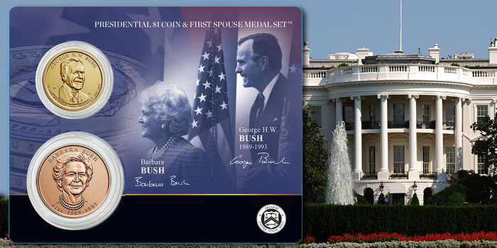 Presidential $1 Coin & First Spouse Medal Set Honoring George H.W. and Barbara Bush Avail. Dec. 21