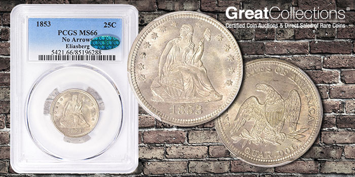 Gem No Arrows 1853 Eliasberg Seated Liberty Quarter Offered by GreatCollections