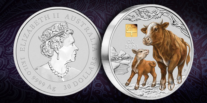 2021 Year of the Ox 1 Kilo Silver Coin With Gold Privy Mark From Perth Mint