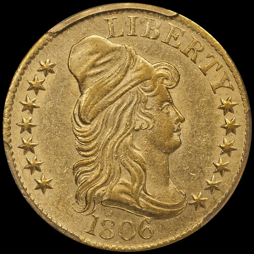 1806 ROUND 6 $5.00 IN PCGS AU55 CAC. Image courtesy Doug Winter