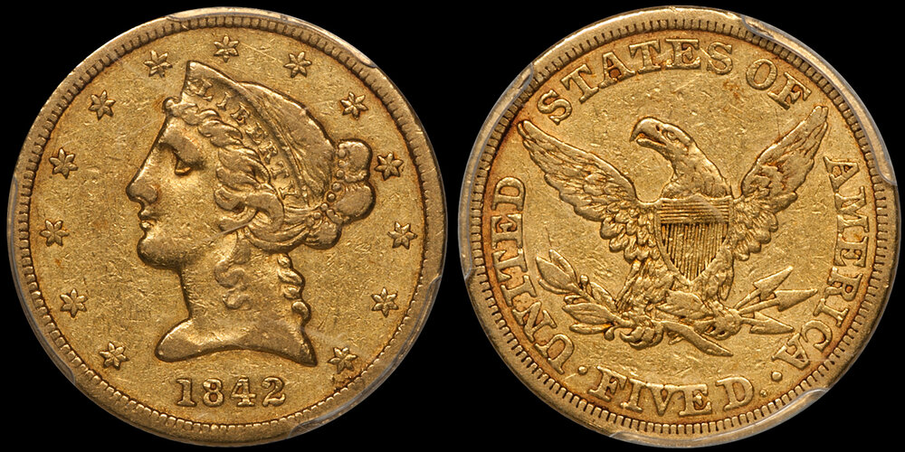 1842 LARGE LETTERS $5.00 EF40 CAC. Images courtesy Doug Winter. 14 Undervalued Classic Gold Coins From the Philadelphia Mint