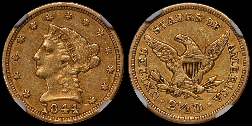 1844 $2.50 NGC AU55 CAC. Images courtesy Doug Winter. 14 Undervalued Classic Gold Coins From the Philadelphia Mint