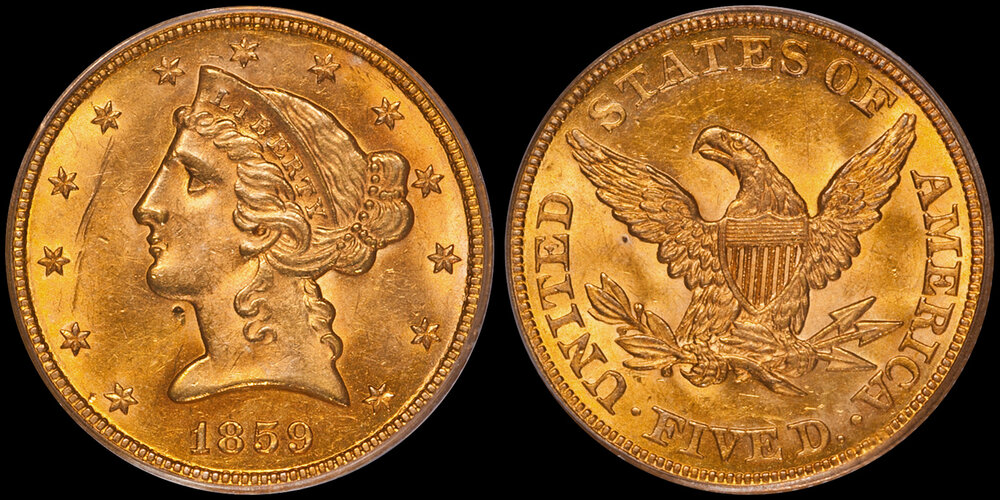 1859 $5.00 PCGS MS62, EX BASS. Images courtesy Doug Winter. 14 Undervalued Classic Gold Coins From the Philadelphia Mint
