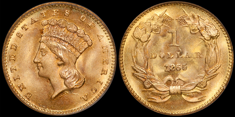 1865 $1.00 PCGS MS67 CAC. Images courtesy Doug Winter. 14 Undervalued Classic Gold Coins From the Philadelphia Mint