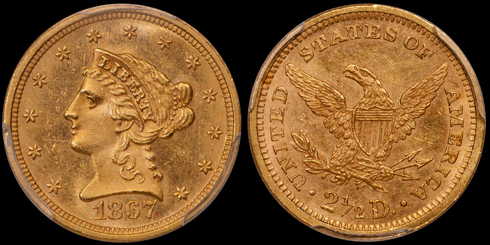 1867 $2.50 PCGS MS61. Images courtesy Doug Winter. 14 Undervalued Classic Gold Coins From the Philadelphia Mint