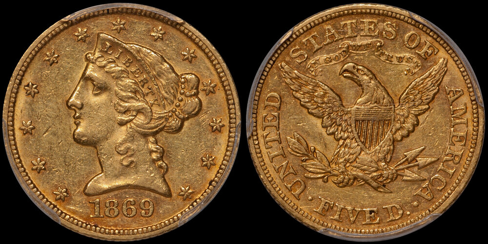 1869 $5.00 PCGS AU58 CAC. Images courtesy Doug Winter. 14 Undervalued Classic Gold Coins From the Philadelphia Mint