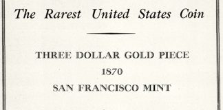 United States 1870-S $3 Gold Coin