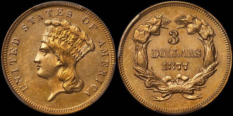 1877 $3.00 PCGS MS62. Images courtesy Doug Winter. 14 Undervalued Classic Gold Coins From the Philadelphia Mint