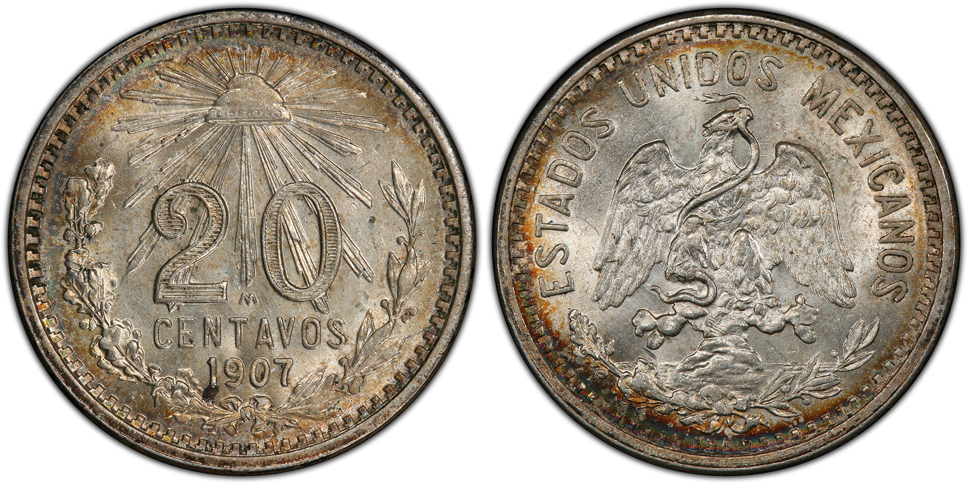 Mexico 1907-M Curved 7 20 Centavos PCGS MS64. Images courtesy PCGS.