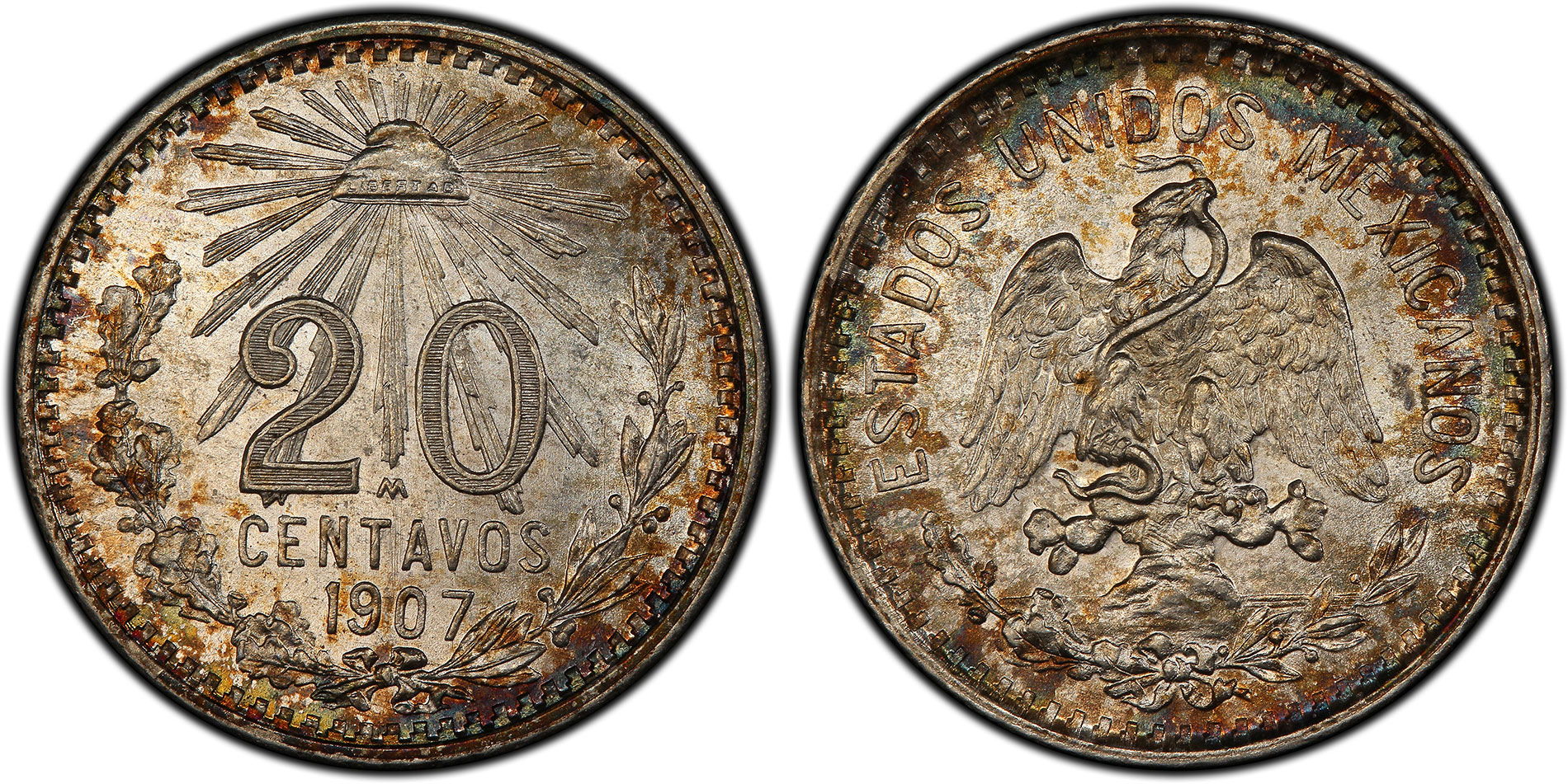 Mexico 1907-M Straight 7 20 Centavos – PCGS MS64. Images courtesy PCGS