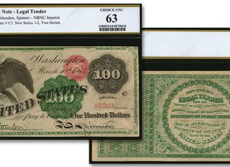 Choice Unc. Spread Eagle 1863 $100 Legal Tender Note From Karelian Collection. Images courtesy Stack's Bowers Auctions