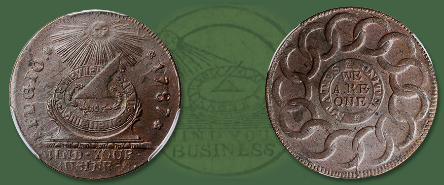 Choice Mint State 1787 Fugio Copper in Stack's Bowers March 2021 Showcase Auction