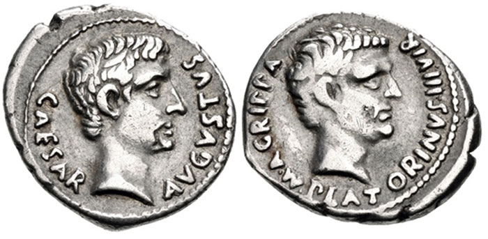 Augustus, with Agrippa. 27 BC-AD 14. AR Denarius (19mm, 3.80 g, 9h). Rome mint. Image: CNG.