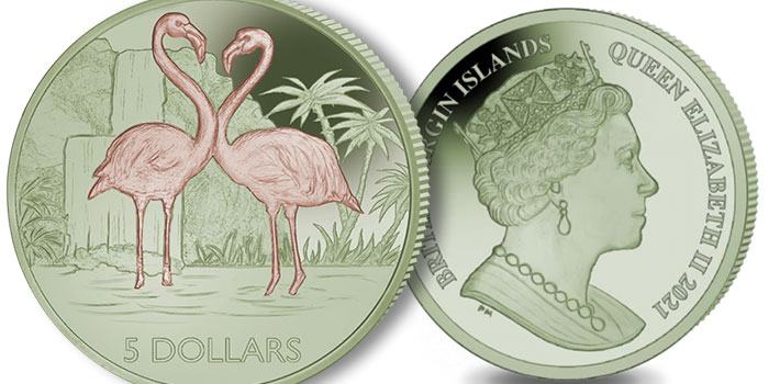 New Bi-Colored Titanium Coin From Pobjoy Mint Dedicated to the Flamingo
