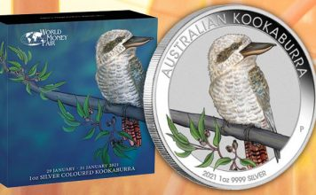 Perth Mint Coin Profiles - World Money Fair Australian Kookaburra 2021 1oz Silver Colored Coin