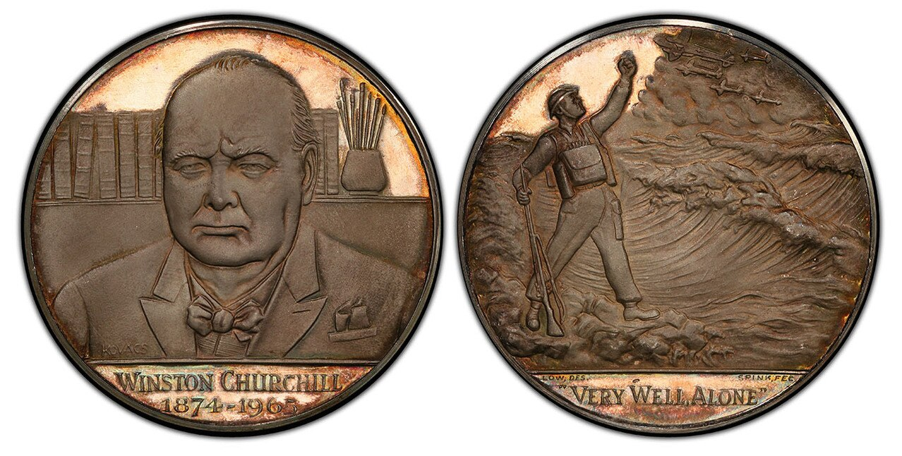 GREAT BRITAIN. Winston Churchill. (Prime Minister, 1940-1955; Father of the House, 1959-1964). (1966) ND AR Memorial Medal. PCGS SP65. Atlas Numismatics