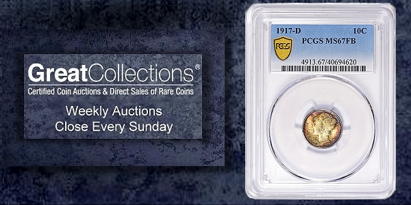 Sole Finest PCGS 1917-D Mercury Dime Offered by GreatCollections
